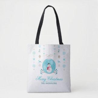 La bolsa de asas personalizada del muñeco de nieve