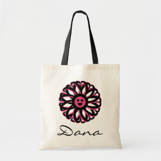 La bolsa de asas personalizada flor feliz de Dana