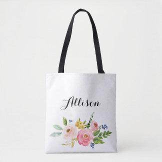 La bolsa de asas personalizada floral