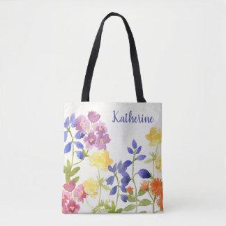 La bolsa de asas personalizada floral colorida del