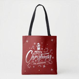 La bolsa de asas personalizada simple del navidad