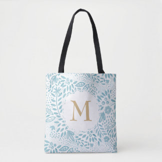 Bolso De Tela La bolsa de asas personalizada Watercolour azul en