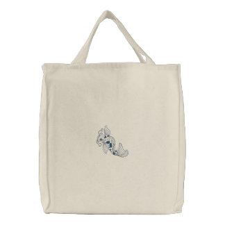 La bolsa de asas reutilizable bordada pescados de