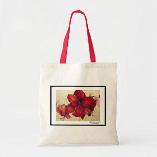 La bolsa de asas roja del Amaryllis del navidad