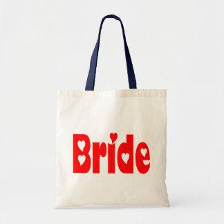 La bolsa de asas roja del boda del corazón de la