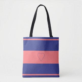 la bolsa de asas rosada de la impresión del
