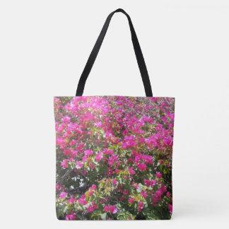 La bolsa de asas rosada linda de la impresión de
