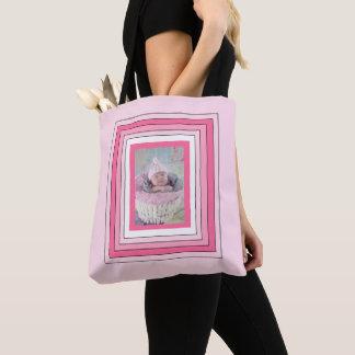 La bolsa de asas rosada personalizada de la foto