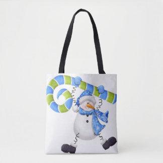 La bolsa de asas verde y azul del muñeco de nieve