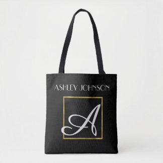 La bolsa de libros del monograma del oro para la bolso de tela