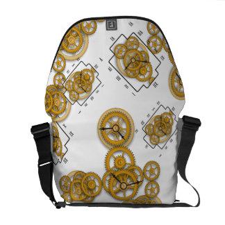 La bolsa de mensajero con el reloj y los engranaje bolsas messenger