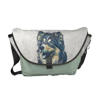 La bolsa de mensajero de la pintura del perro bolsa de mensajería