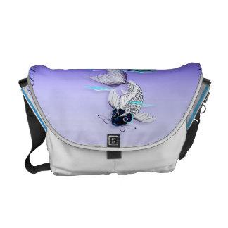 La bolsa de mensajero Koi-Azul blanca del lirio Bolsas De Mensajeria