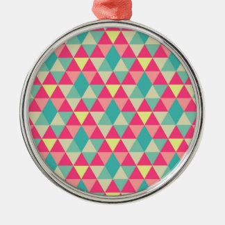 La bonanza del triángulo adorno redondo plateado