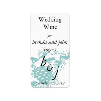 La botella de vino del boda del invierno etiqueta  etiqueta de dirección