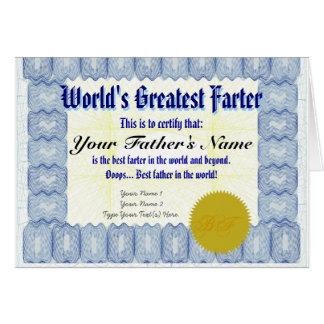 La broma más grande del padre del certificado de F Felicitación