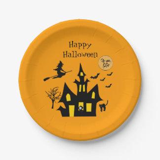 La bruja de la casa encantada de Halloween golpea Plato De Papel