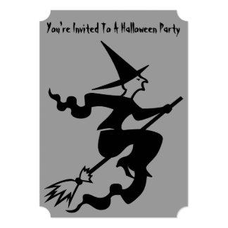 la bruja divertida en el fiesta de Halloween del Invitación 12,7 X 17,8 Cm