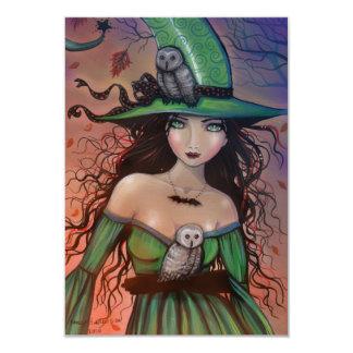 La bruja y la postal de Halloween de los búhos Invitación 8,9 X 12,7 Cm