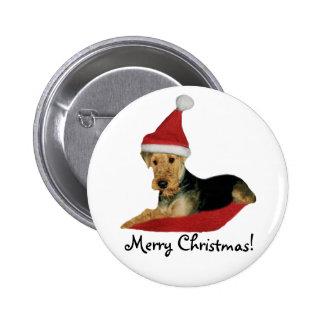 "La Button navidad ""Airedale Terrier "" Pins"