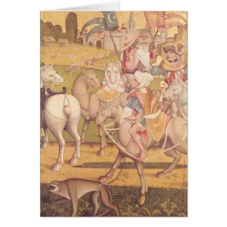 La cabalgata de unos de los reyes magos, c.1460 felicitación