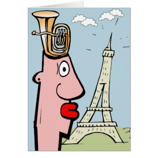 La cabeza de la tuba visita París Tarjeta