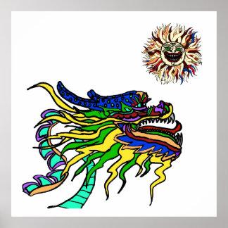 La cabeza del dragón debajo del sol loco impresiones