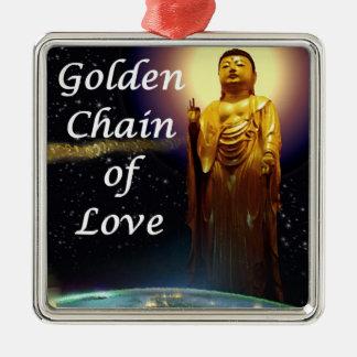 La cadena de oro de Amida del amor 3 Adorno Navideño Cuadrado De Metal