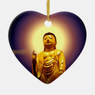 La cadena de oro de Amida del ornamento del amor Adorno Navideño De Cerámica En Forma De Corazón