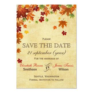 La caída deja el boda rústico invitación 12,7 x 17,8 cm