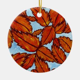 La caída deja el ornamento adorno navideño redondo de cerámica