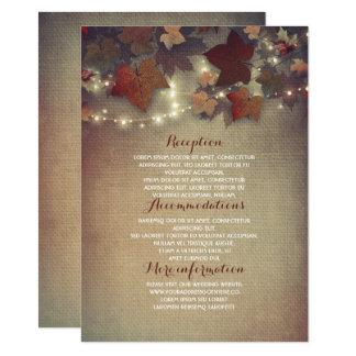 La caída deja los detalles rústicos del boda - invitación 11,4 x 15,8 cm