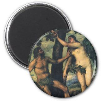 La caída del hombre; Adán y Eva por Titian Imán Redondo 5 Cm