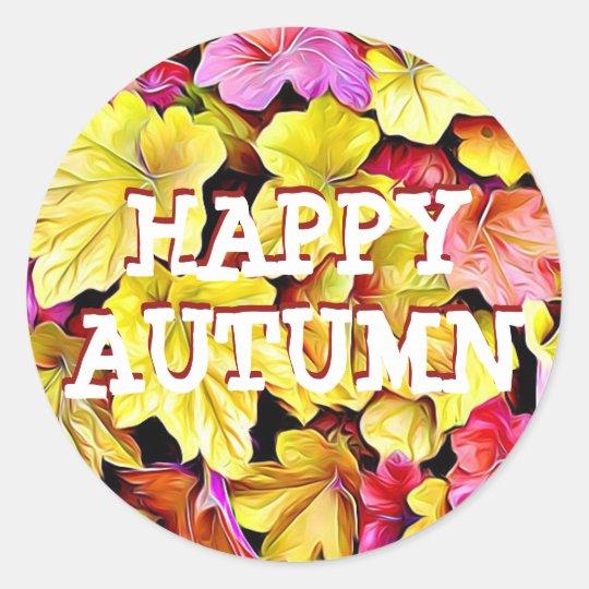 La caída feliz del otoño deja a los pegatinas pegatina redonda