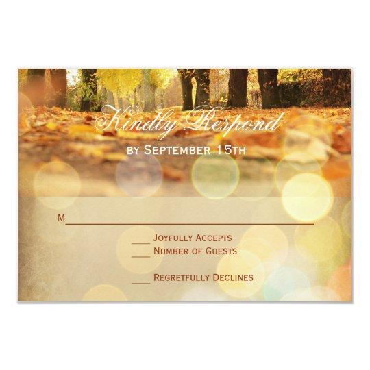 La caída rústica deja el otoño que casa las invitación 8,9 x 12,7 cm