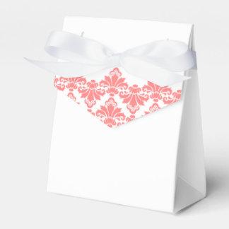 La caja antigua del favor del boda del damasco se