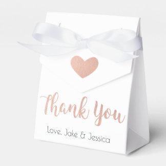 La caja del favor del boda con oro color de rosa
