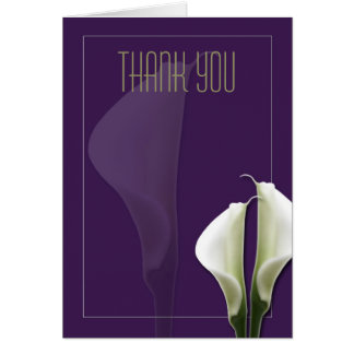 La cala le agradece observar en púrpura tarjeta pequeña