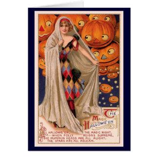 La calabaza de Halloween dirige la tarjeta