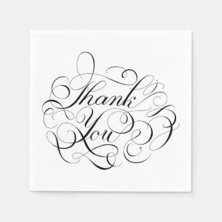 La caligrafía agradece al banquete de boda negro y servilleta de papel