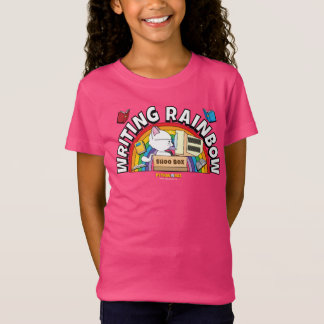La camisa del chica del arco iris de la escritura