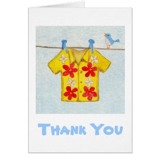 La camisa hawaiana le agradece cardar tarjeta pequeña