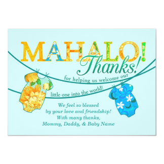 La camisa hawaiana Onsie Luau Mahalo le agradece Invitación 11,4 X 15,8 Cm