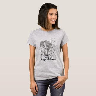 La camiseta básica de las mujeres, gris, medio