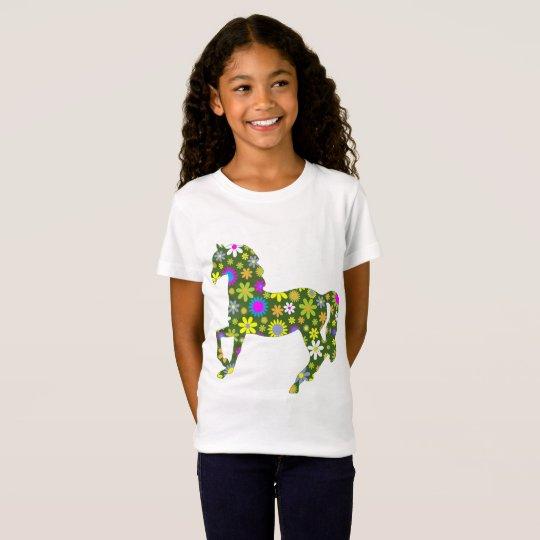 La camiseta de la flor de los niños retros del