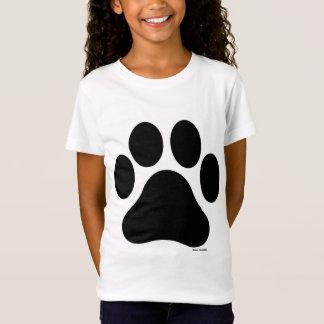 La camiseta de la pata del chica blanco y negro de