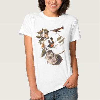 La camiseta de las mujeres del pájaro de Redstart
