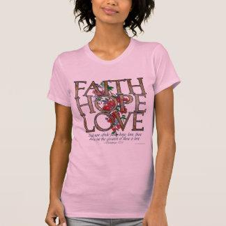 La camiseta de las mujeres florales del amor de la