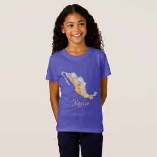 La camiseta de los chicas de la acuarela del mapa