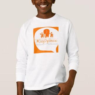 La camiseta de manga larga del niño - logotipo de